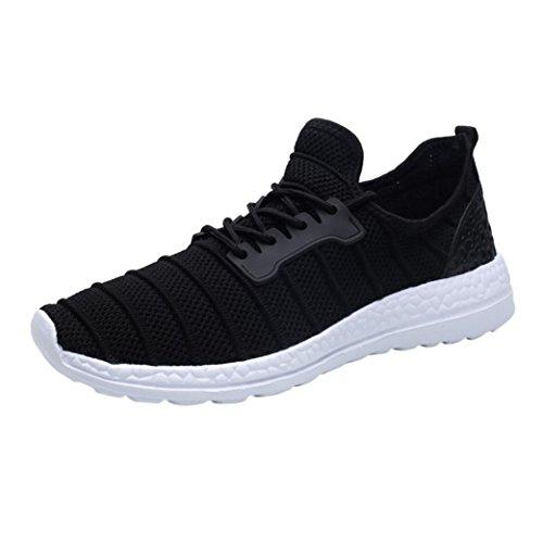UOMOGO Uomo Donna Scarpe da Sportive Running Basse Sneakers Nero Grigio Bianca 36-47 (Asia 47, Nero)