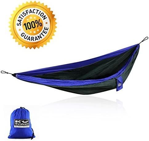 BC Supply Outdoors True Double Sized Portable Camping Hammock with Triple Stitched Ultra Premium Military Grade Parachute Nylon Free Metal Carabiners Backed with Unconditional by Max Relax