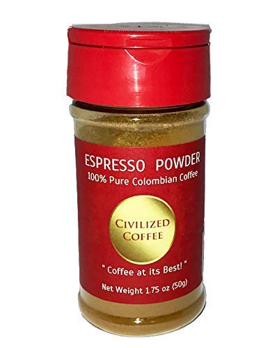 Espresso Coffee Powder for Baking and Smoothies, Non GMO, 100% Colombian Coffee fine ground 1.75 ounce