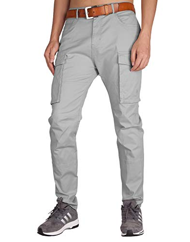 ITALY MORN Men's Chino Cargo Twill Casual Pants 32 Light Grey