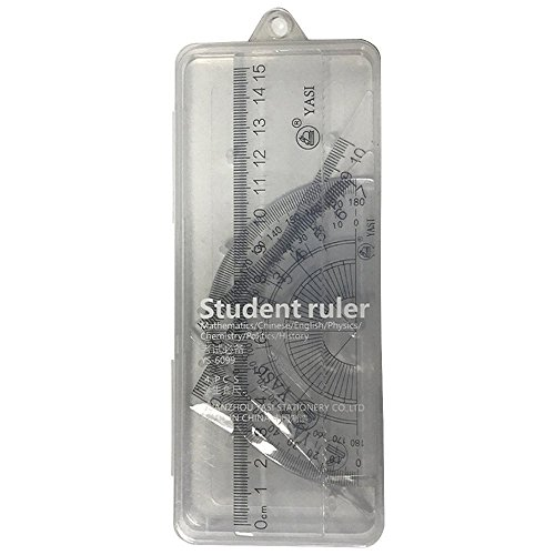 Home Mart Math Geometry Tool Plastic Clear Ruler Sets Protractor, Triangle Math Tools Set For Students by Home Mart (Image #1)