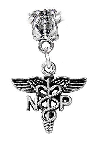 NP Caduceus Nurse Practitioner Medical Dangle Charm for European Bead Bracelets Crafting Key Chain Bracelet Necklace Jewelry Accessories Pendants