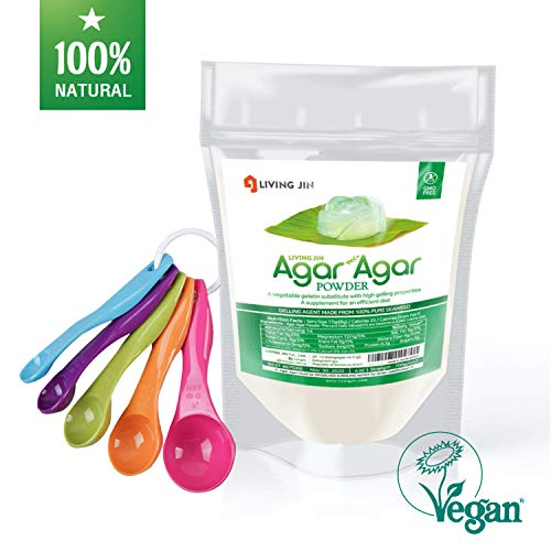 Agar Agar Powder 4oz, 5-piece Measuring Spoon Set: Gelatin Substitute, Vegan, Unflavored, Gummy bears, Cheese, Vegetarian, Keto, Gluten-free, Non-GMO, Sugar-free Kosher, Halal, Thickener |LIVING JIN
