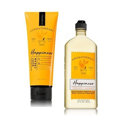 Bath and Body Works Aromatherapy Happiness Bergamot & Mandarin Body Cream. 8 Oz & Shower Gel 10 Oz.