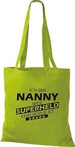 Shirtstown Stoffbeutel Ich bin Nanny, weil Superheld kein Beruf ist kiwi