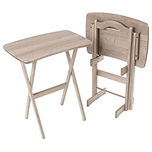 Manchester Wood Contemporary Folding TV Tray Table Set Of 2   Driftwood Grey