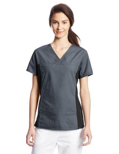 Cherokee Women's Scrubs Flexibles Contrast Knit Panel Top, Pewter, (Cotton Scrubs Uniforms)