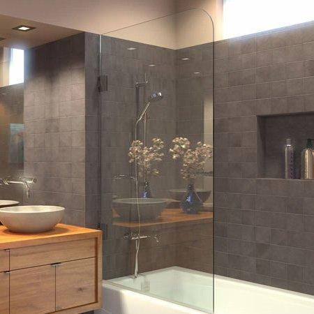 Ark Showers Frameless Bathtub Shower Screen, Pivot Door, ...