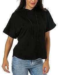 Women's Hoodies Short Sleeve Solid Color Pullover T-Shirt Sweatshirt Tops