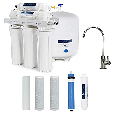 Olympia Water Systems 50 GPD Membrane Reverse Osmosis Water Filtration System with Brushed Nickel Finish Faucet - OWS04