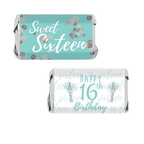 Sweet Sixteen 16th Birthday Party Mini Candy Bar Wrappers, 54 Stickers (Blue and Silver)