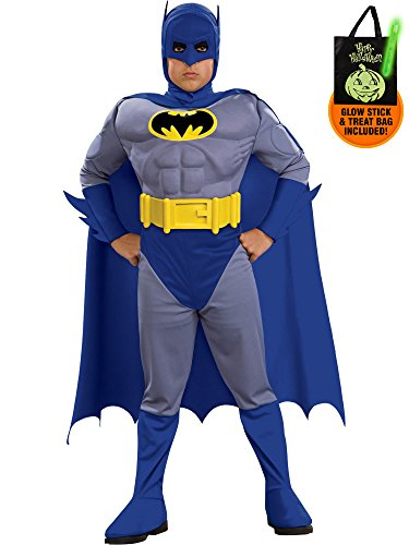 Batman Brave And Bold Deluxe Child Costume (Deluxe Boy's The Brave and The Bold Batman Muscle Chest Costume Treat Safety Kit-S)