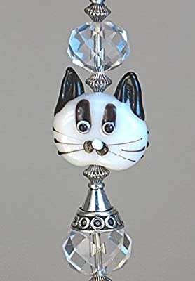 Rear View Mirror Car Accessory Ornament Clear Glass Double Sided White Cat Face