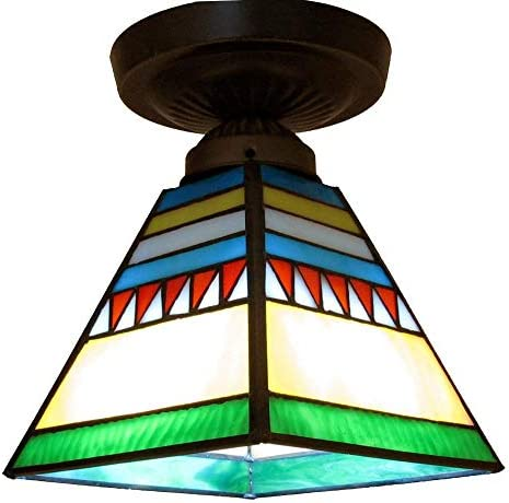 Small European Corridor Ceiling Pendant Light Tiffany Splicing Colorful Glass Bedroom Ceiling Lamp Balcony Hallway Porch Ceiling Lighting Fixtures