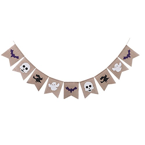 Halloween Burlap Banner Garland(Assembled) with Black Witch White