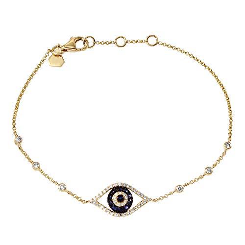 Women's Vermeil Evil Eye 0.25 Ct Round Sapphire Gemstone Bracelet 14k Yellow Gold Natural ()