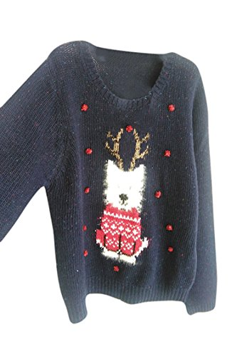 Hedgehog Christmas Sweater.Forever Womens Celebrity Inspired Elf Print Knitted Christmas Jumpers Sweater Shop