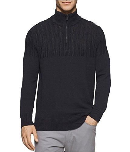 Calvin Klein Men's Quarter Zip Boucle Cable Mock Neck Sweater, Black, Large