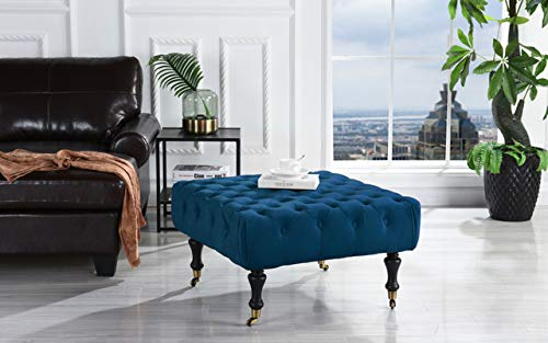 Rectangular Tufted Ottoman - DIVANO ROMA FURNITURE Classic Tufted Velvet Footrest/Footstool/Ottoman with Casters (Royal Blue)