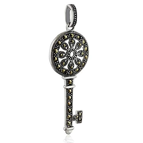 Marcasite Old Fashioned Skeleton Key Pendant - 925 Sterling Silver Love Gift - Jewelry Accessories Key Chain Bracelets Crafting Bracelet Necklace Pendants