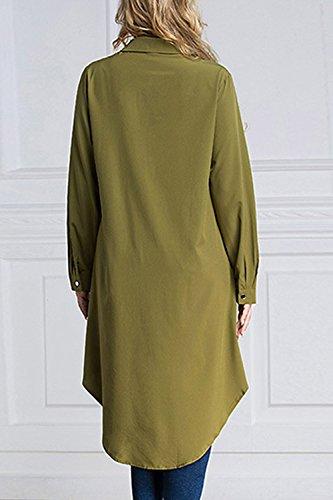 A Musulmano Migliori Lunghe Taglia Hollow Di Maniche Donne Green Camicetta Magliette Irregolare Pulsante Le UA1Btt