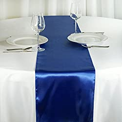 BalsaCircle 10 pcs 12 x 108-Inch Royal Blue Satin Table Top Runners - Wedding Party Event Reception Occasions Linens Decorations