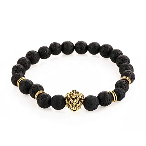 Wintefei 1Pc Men Fashion Lava Stone Cool Lion Head Adjustable Beaded Cuff Charm Bracelet - Gold -