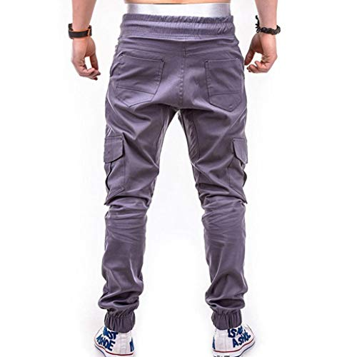 Realdo Clearance Fashion Sport Pure Color Bandage Casual Sweatpants Drawstring Cargo Pant Trousers(XX-Large,Gray) by Realdo (Image #3)
