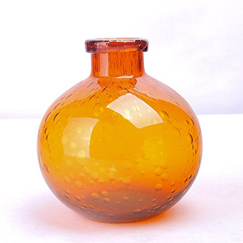 Art Glass Bud Vase (Art Hand Blown Glass Flower Bottle Art Solid Color Glass Bud Vase Small Vintage Ribbed Decor Glass Flower Bud Vase For Home Decor Wedding Party Celebration (Orange 4.7