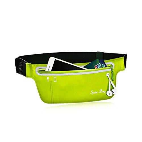 Sports Zipper Waist Belt Bag (Light Green) - 5