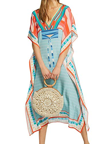 - Chunoy Women Loose Swim Wear Cover Up Beach Tunic Kaftans Long Beach Dress