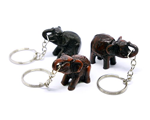 Asian Elephant Keychain Resin Figure Souvenir 3 Pcs in Set (Mix Color Set 1) -
