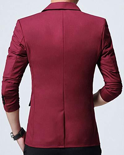 De Veste Jacket Blazer Slim Costume Rouge 1vin Manteau Homme vXAdFdq