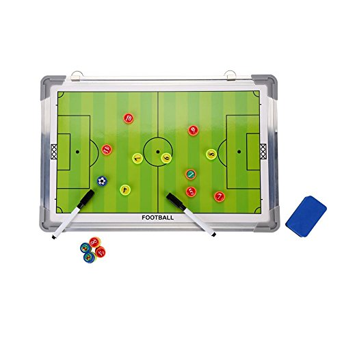 EECOO Football Soccer Magnetic Coaching Board, Waterproof Aluminum Tactic Strategy Board, Lightweight Training Equipment with Hanging Hook and Erasable Marker Pen -