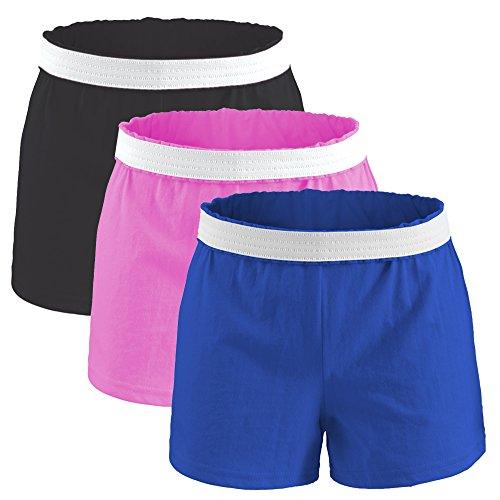 Soffe Juniors Authentic Cotton Shorts (Large, 3 Pack: Black/Pink/Royal)