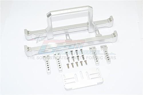 GPM Traxxas TRX-4 Trail Defender Crawler Upgrade Parts Aluminium Front & Rear Bumper with Winch Plate (On-Road Street Fighter) - 1 Set Silver