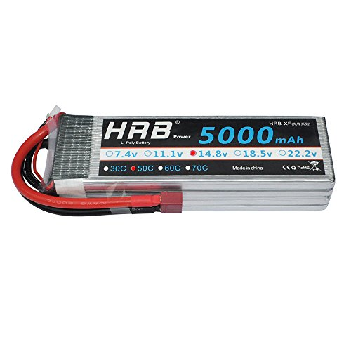 HRB 14.8V 5000mAh 50C 4S Lipo High Power Battery RC Battey Pack with Deans-T Connector for RC Airplane, RC Helicopter, RC Car/Truck, RC Boat