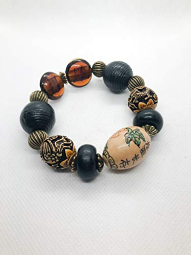 Chunky Exotic Bracelet - Chinese Proverb, Carved Dragon and Ebony Grooved Wood Beads - 7.5
