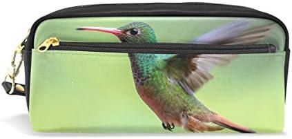 imobaby Flying HummingbirdポータブルポーチPUレザー学校ペンケースStationary鉛筆バッグWater ProofコスメティックバッグメイクアップBeauty Case