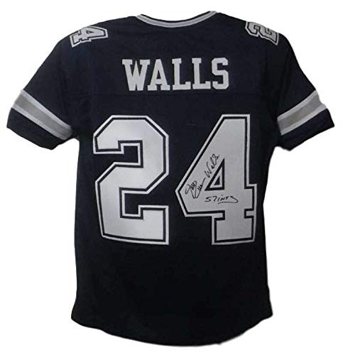 Everson Walls Autographed/Signed Dallas Cowboys Custom Blue Jersey 57 - Everson Walls