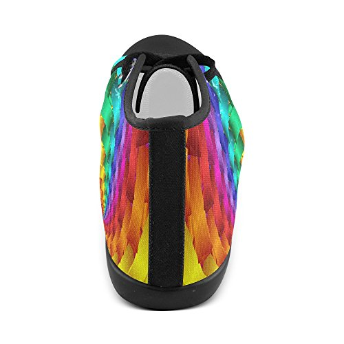 Artsadd Psykedelisk Rainbow Spiral Høy Topp Lerret Sko For Menn (model001)