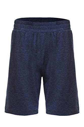 Neovic Mens Athleisure French Terry Knit Casual Solid Lounge Shorts w/Pockets - Navy - Large