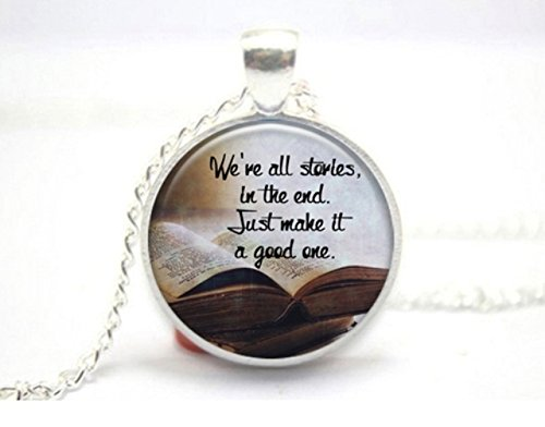 We're All Stories Glass Tile Necklace Doctor Who