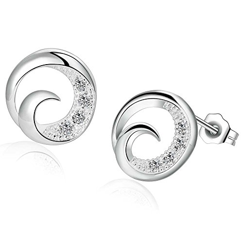 OUBEY Shiny Zircon Tail Silver Earrings For Women Silver (Chipmunk Ears And Tail)