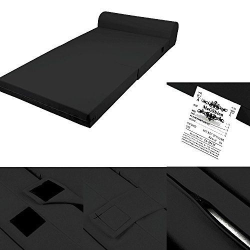 Solid Black Foam Seat Mattress Sleeper Chair Folding Bed Kid Bed 3 Sizes (Standard) by Magshion Futon Furniture
