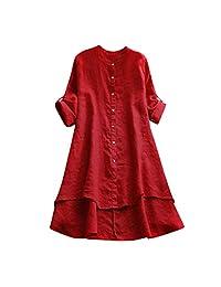 ¡Caliente! Funic Blusa Casual de Verano y Primavera, Suelta, de Lino, con Botones, Manga Larga, Color sólido