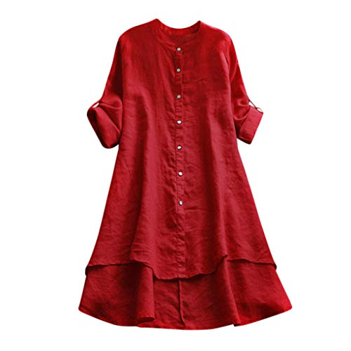 - HTDBKDBK Blouse for Women Casual Loose Linen Soild Button Long Sleeve Long Shirt Blouse Tops