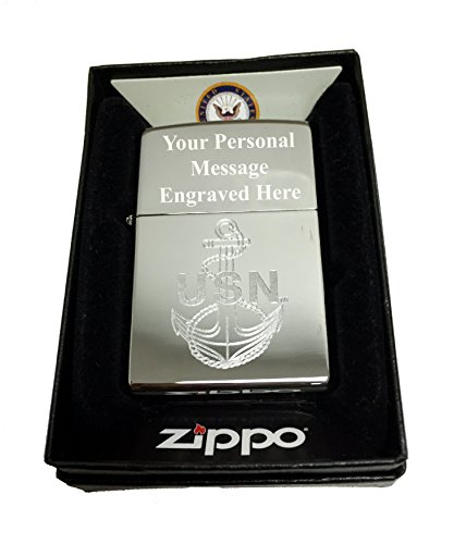 Zippo Custom Lighter - U.S. Navy Laser Engraving with Anchor Logo - Regular High Polish Chrome FREE - Zippo Seals Navy