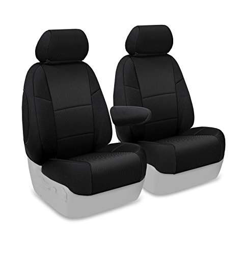 Coverking Custom Fit Front 50/50 Bucket Seat Cover for Select Honda Element Models - Spacermesh Solid (Black)