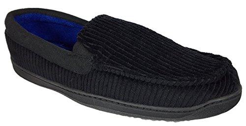 Dearfoams Mens Corduroy Moccasins Memory Foam Slippers, Adult M (9-10), Black (Washable Mens Slippers)